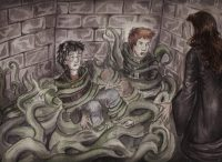 Harry and Ron are rescued from Devil's Snare by Hermione