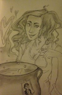Romilda Vane gives Harry a box of Chocolate Cauldrons that contain love potion