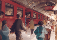 The two Potter boys and their fellow students board the train for another year at Hogwarts