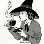 Witch with poisonous hot drink.