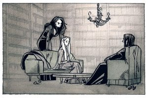 Bellatrix and Narcissa meet with Snape at Spinner's End.