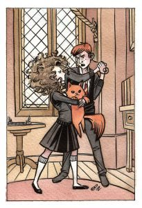 Ron keeping Scabbers from Crookshanks.
