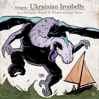 A Ukranian Ironbelly dragon carries off a Muggle sailing ship