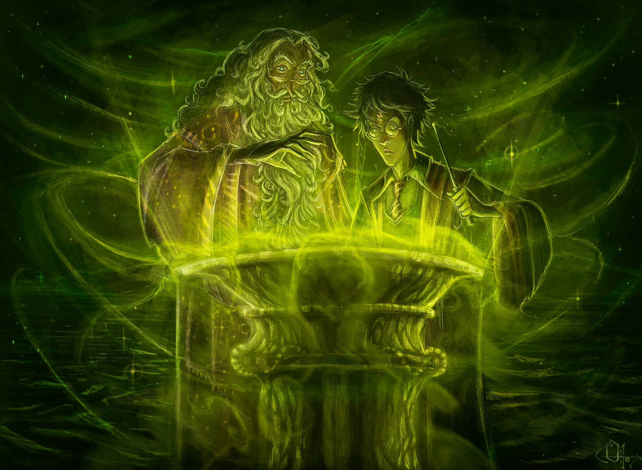 Dumbledore and Harry in the Cave