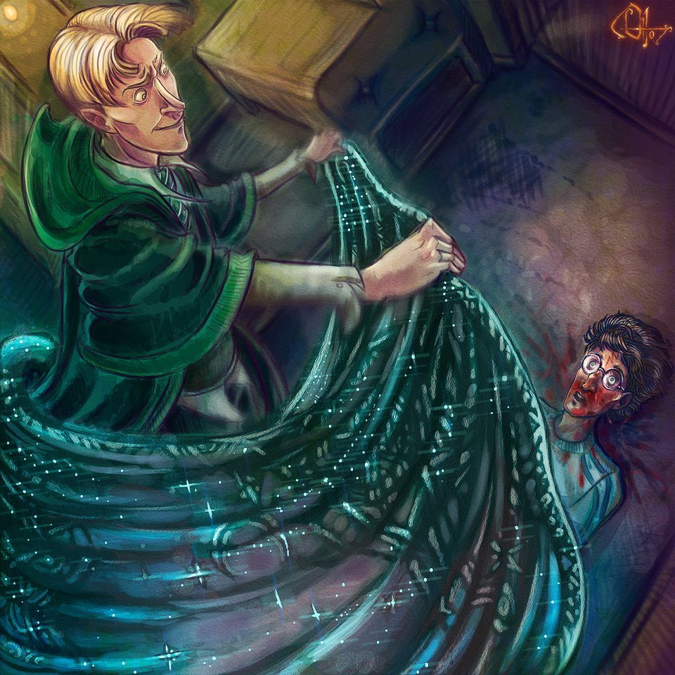 draco-covers-harry-with-cloak-on-train