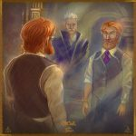 Reflection of Dumbledore and Grindelwald.