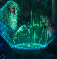 Late at night, Harry and Dumbledore view Slughorn's true memory