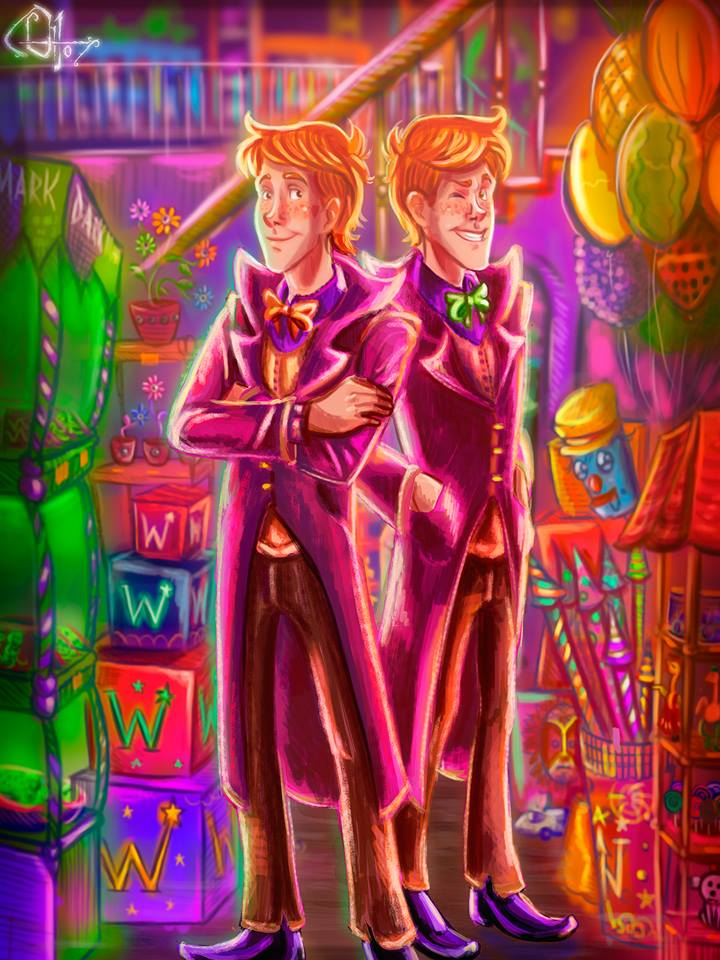 Fred and George Weasley in their shop