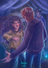 Hermione attacks Ron when he finds his way back after Christmas