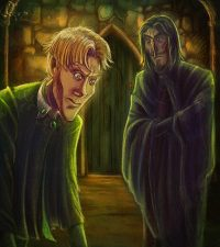 Harry eavesdrops on Snape and Draco's heated discussion about Draco's mission