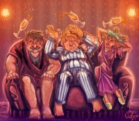 Dumbledore chats with the Dursleys in their living room