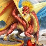 Chinese Fireball Dragon protecting her egg.