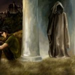 Harry and hooded figure.