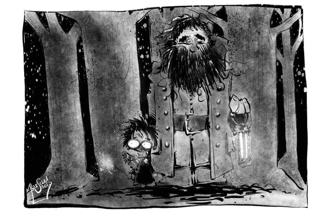 Harry and Hagrid for Inktober