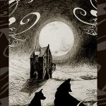 Dog and werewolf by Shrieking Shack and full moon.