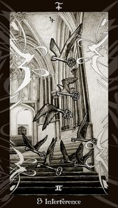 Winged keys flying up Hogwarts staircase.