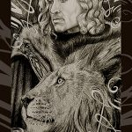 Godric Gryffindor as ace of wands.
