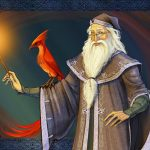 Albus Dumbledore and his phoenix.