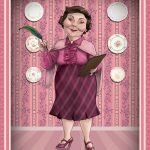 Dolores Umbridge, with quill and clipboard.