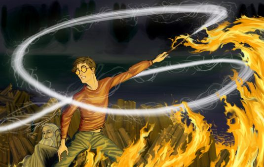 Harry saves Dumbledore from fire at Sea Cave.