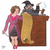 Dolores Umbridge crafts anti-werewolf legislation