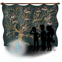 Black family tree tapestry