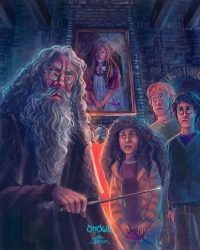 The trio arrive in Hogsmeade and meet Aberforth