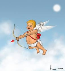 Cupid about to shoot bow and arrow.