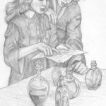 Harry and Hermione in Potions class.