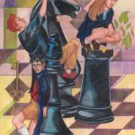 Harry, Ron and Hermione on giant chessboard.