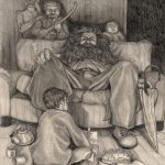 Hagrid with Harry and Dursleys.